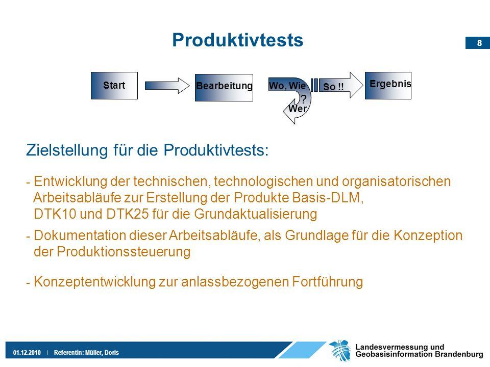 8 01.12.2010Referentin: Müller, Doris Produktivtests Zielstellung für die Produktivtests: ? Start Ergebnis Wo, Wie Wer Bearbeitung So !! - Entwicklung