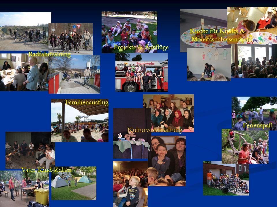 Vater-Kind-Zelten Radfahrtraining Familienausflug Projekte & Ausflüge Ferienspaß Kirche für Kinder & Monatsschlussandacht Kulturveranstaltung