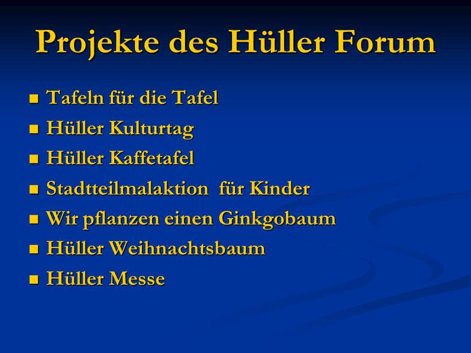 Projekte des Hüller Forum Tafeln für die Tafel Tafeln für die Tafel Hüller Kulturtag Hüller Kulturtag Hüller Kaffetafel Hüller Kaffetafel Stadtteilmal