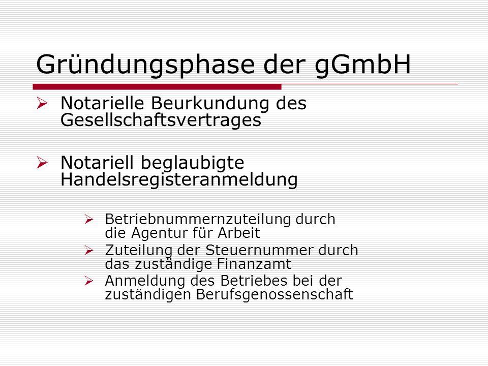 Gründungsphase der gGmbH Notarielle Beurkundung des Gesellschaftsvertrages Notariell beglaubigte Handelsregisteranmeldung Betriebnummernzuteilung durc