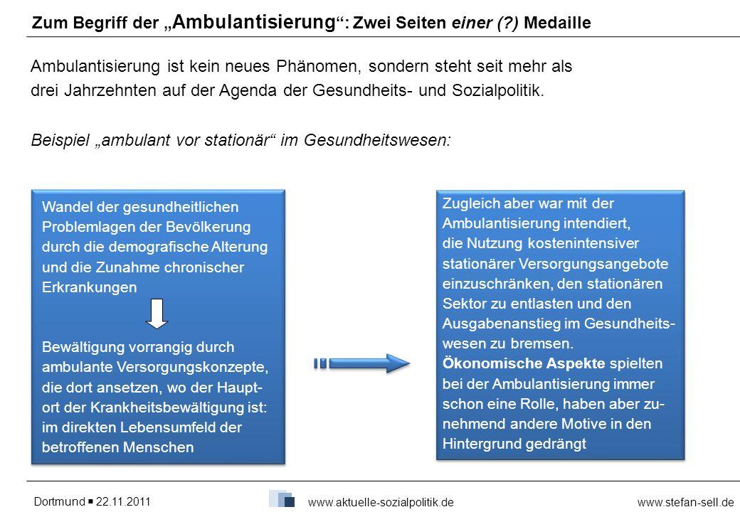 Dortmund 22.11.2011www.stefan-sell.de www.aktuelle-sozialpolitik.de Zum Begriff der Ambulantisierung: Zwei Seiten einer (?) Medaille Ambulantisierung