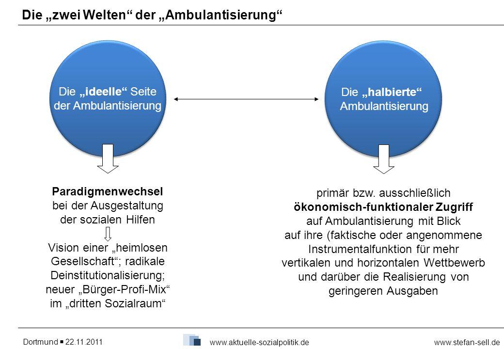 Dortmund 22.11.2011www.stefan-sell.de www.aktuelle-sozialpolitik.de Die zwei Welten der Ambulantisierung Die ideelle Seite der Ambulantisierung Die ha