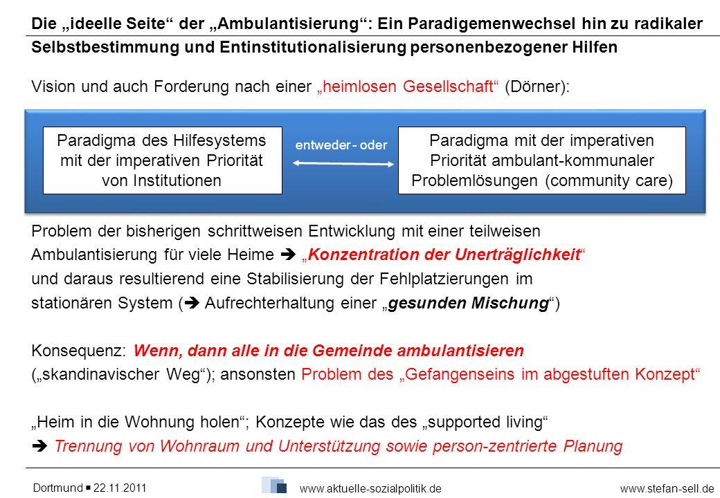 Dortmund 22.11.2011www.stefan-sell.de www.aktuelle-sozialpolitik.de Die ideelle Seite der Ambulantisierung: Ein Paradigemenwechsel hin zu radikaler Se