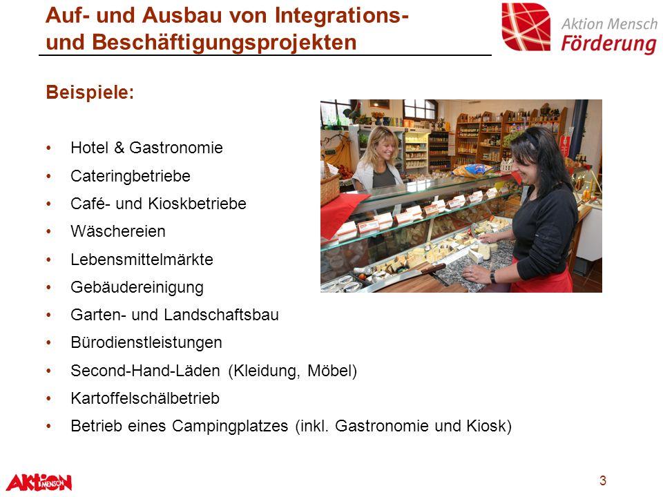 14 Integrations- & Beschäftigungsprojekte Auf- und Ausbau Möglichkeiten ergänzender Förderung: sog.