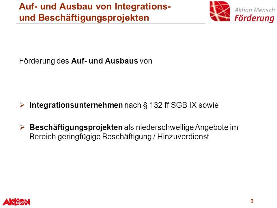 8 Auf- und Ausbau von Integrations- und Beschäftigungsprojekten Förderung des Auf- und Ausbaus von Integrationsunternehmen nach § 132 ff SGB IX sowie
