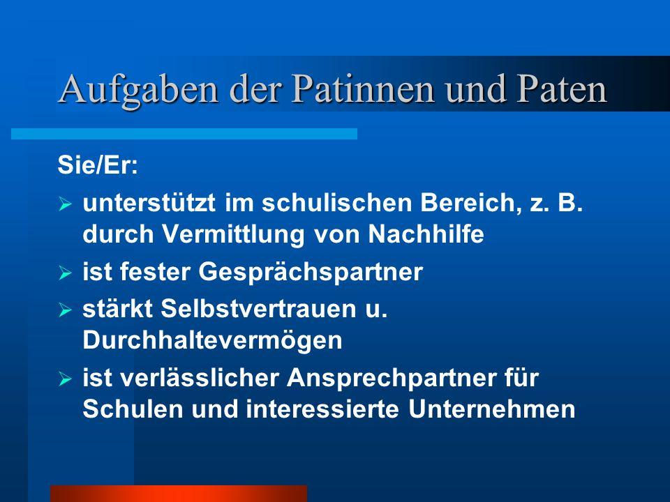 Aufgaben der Patinnen und Paten: Sie/Er...