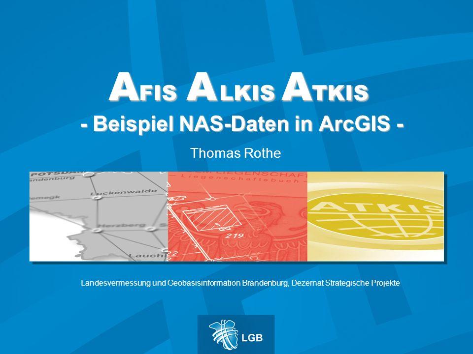 A FIS A LKIS A TKIS - Beispiel NAS-Daten in ArcGIS - Thomas Rothe Landesvermessung und Geobasisinformation Brandenburg, Dezernat Strategische Projekte