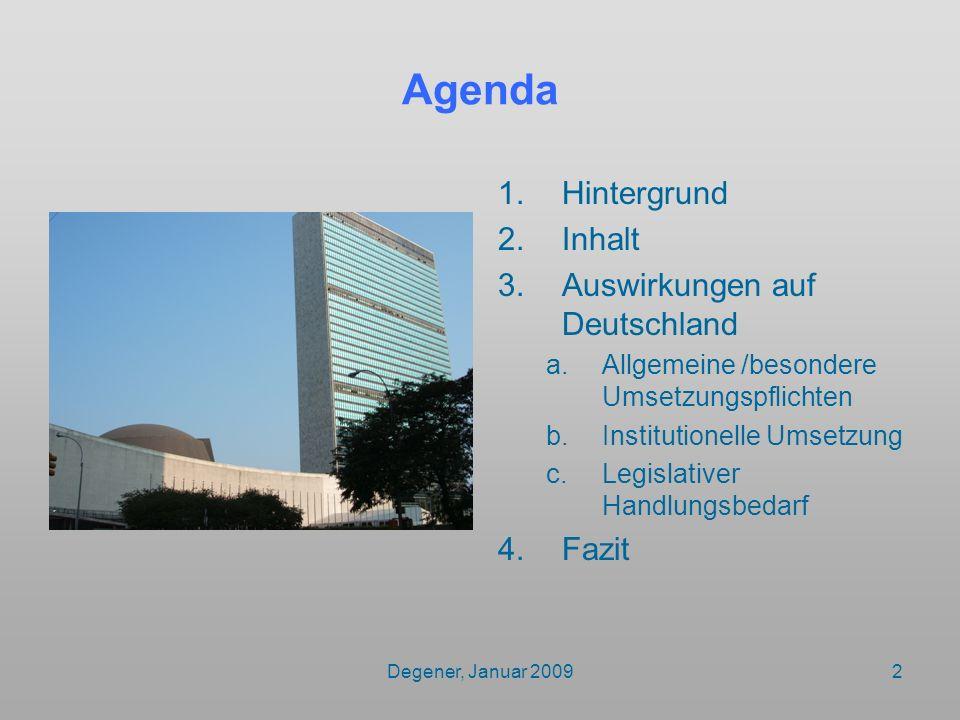 Degener, Januar 20092 Agenda 1.Hintergrund 2.Inhalt 3.Auswirkungen auf Deutschland a.Allgemeine /besondere Umsetzungspflichten b.Institutionelle Umset