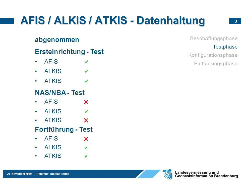 3 20. November 2009 Referent: Thomas Rauch AFIS / ALKIS / ATKIS - Datenhaltung abgenommen Ersteinrichtung - Test AFIS ALKIS ATKIS NAS/NBA - Test AFIS