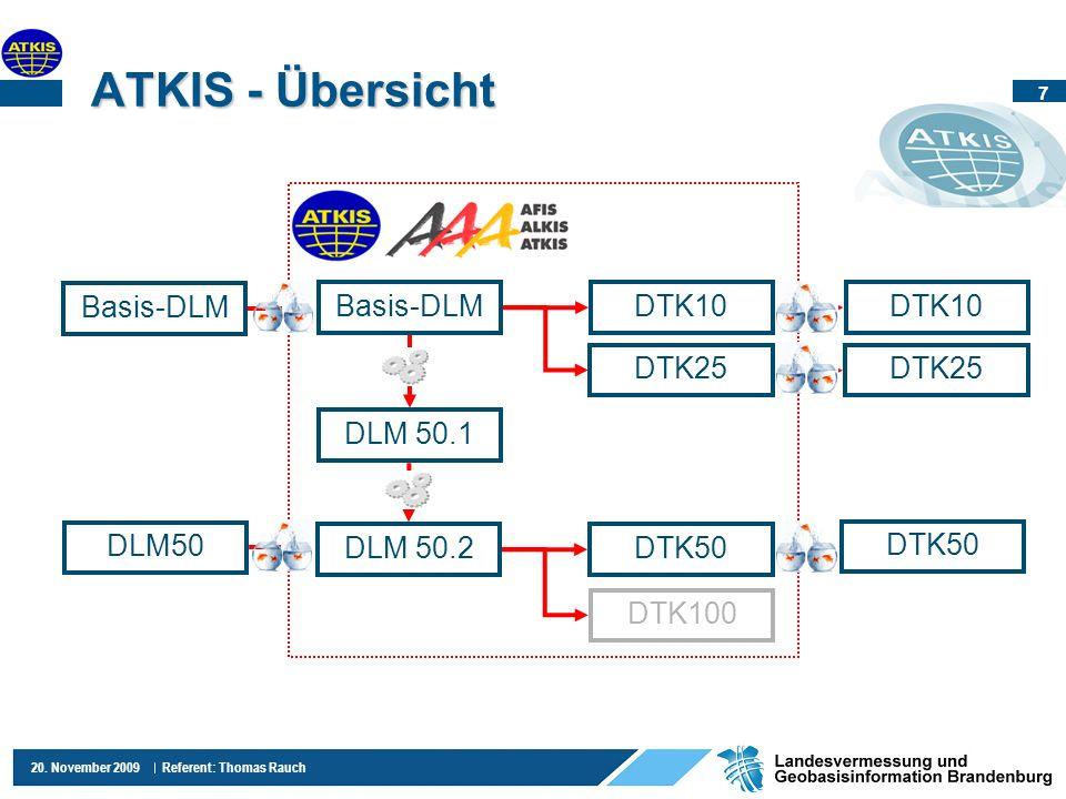 7 20. November 2009 Referent: Thomas Rauch ATKIS - Übersicht Basis-DLM DLM50 DTK10 DTK25 DTK50 Basis-DLM DLM 50.1 DTK25 DTK50 DTK100 DTK10 DLM 50.2