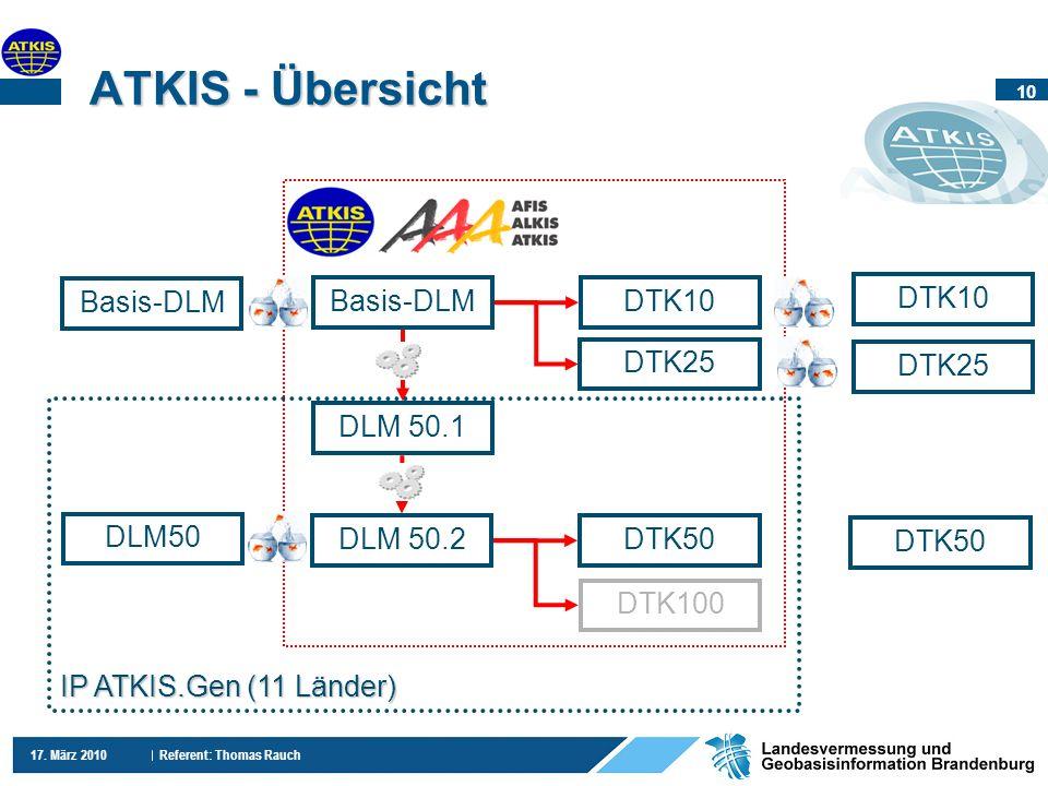 10 17. März 2010 Referent: Thomas Rauch ATKIS - Übersicht Basis-DLM DLM50 DTK10 DTK25 Basis-DLM DLM 50.1 DTK25 DTK50 DTK100 DTK10 DLM 50.2 IP ATKIS.Ge