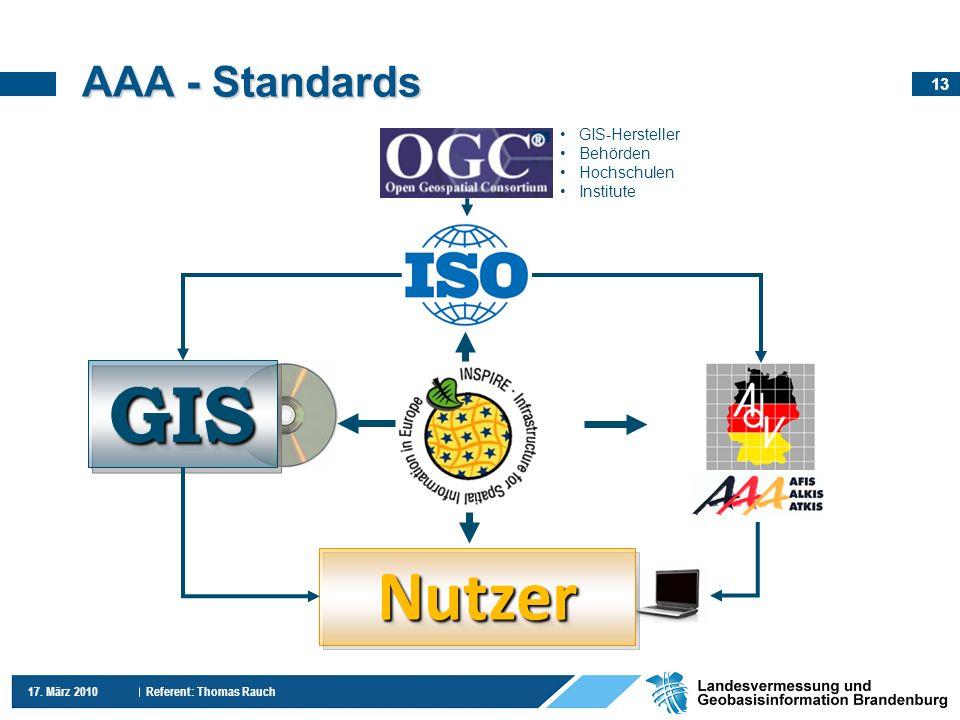 13 17. März 2010 Referent: Thomas Rauch AAA - Standards GISGIS NutzerNutzer GIS-Hersteller Behörden Hochschulen Institute