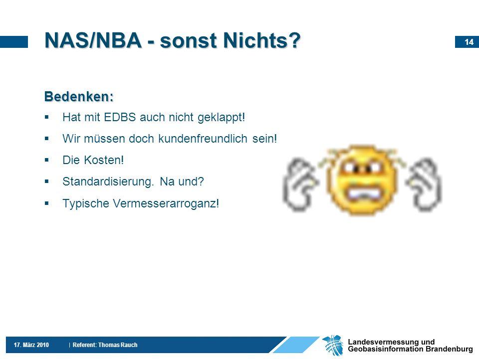 14 17. März 2010 Referent: Thomas Rauch Bedenken: Hat mit EDBS auch nicht geklappt! Wir müssen doch kundenfreundlich sein! Die Kosten! Standardisierun