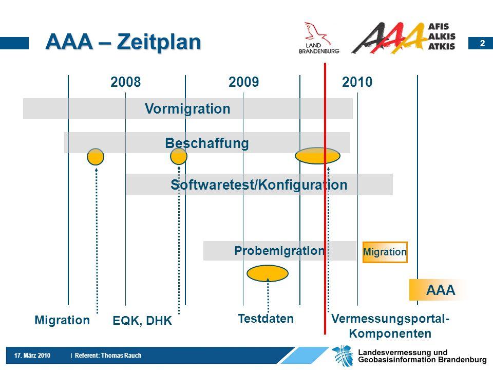 2 17. März 2010 Referent: Thomas Rauch 200820092010 Vermessungsportal- Komponenten AAA – Zeitplan AAA Probemigration Testdaten Migration EQK, DHK Soft