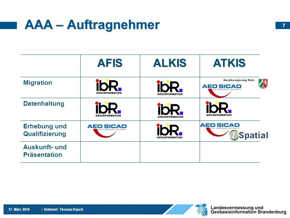 7 17. März 2010 Referent: Thomas Rauch AAA – Auftragnehmer Erhebung und Qualifizierung Auskunft- und Präsentation Datenhaltung Migration ATKISALKISAFI