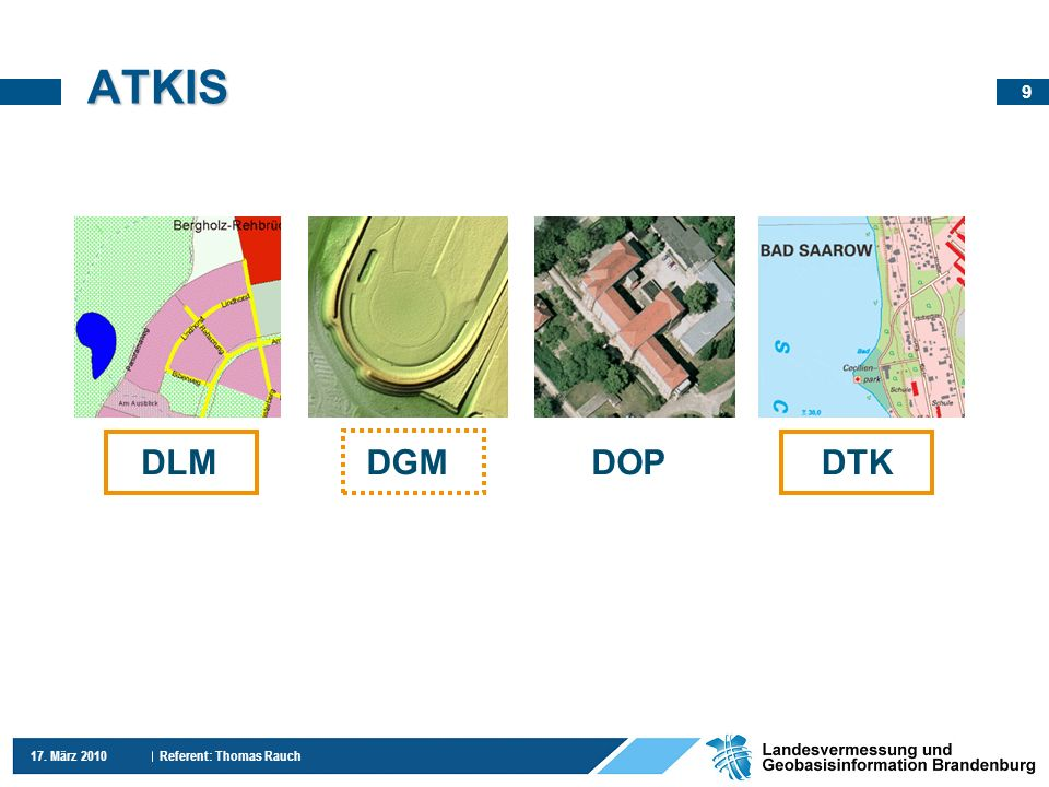 9 17. März 2010 Referent: Thomas Rauch ATKIS DLM DGM DOP DTK