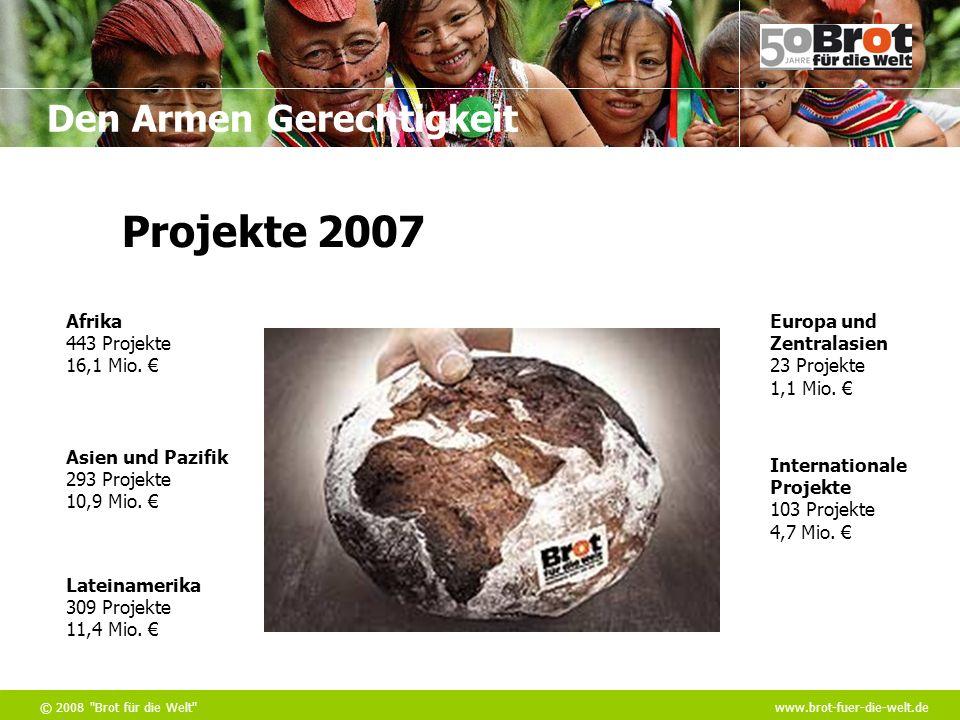 Den Armen Gerechtigkeit © 2008 Brot für die Welt www.brot-fuer-die-welt.de Afrika 443 Projekte 16,1 Mio.