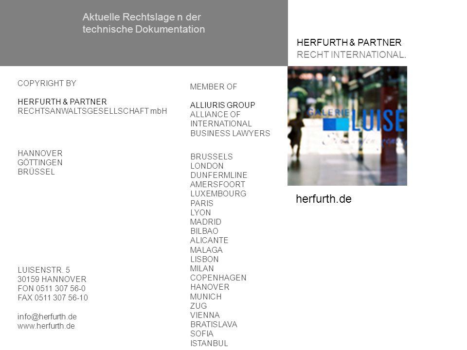 HERFURTH & PARTNER RECHT INTERNATIONAL. MEMBER OF ALLIURIS GROUP ALLIANCE OF INTERNATIONAL BUSINESS LAWYERS BRUSSELS LONDON DUNFERMLINE AMERSFOORT LUX