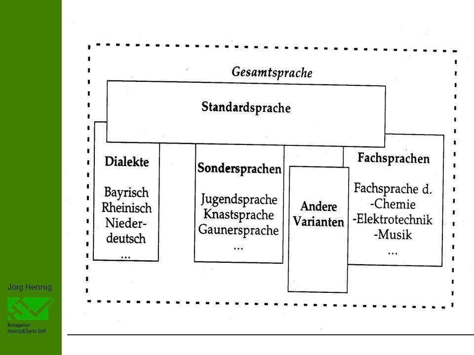 Jörg Hennig 5 Gruppensprache: -Unterscheidung von anderen Gruppen -- Stabilisierung der Gruppe