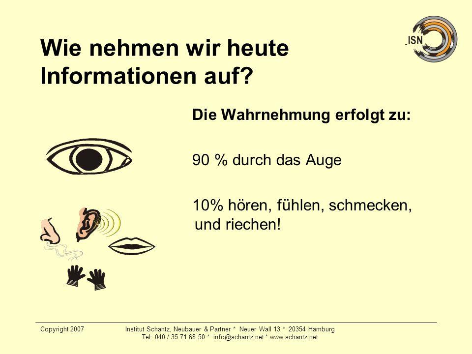 Copyright 2007Institut Schantz, Neubauer & Partner * Neuer Wall 13 * 20354 Hamburg Tel: 040 / 35 71 68 50 * info@schantz.net * www.schantz.net Wie neh