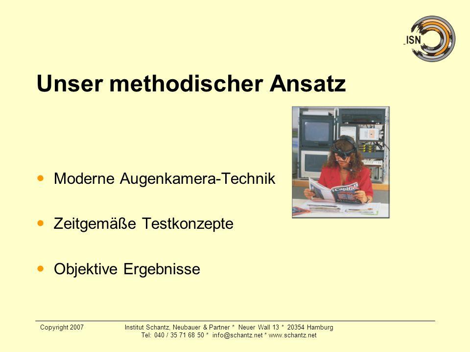 Copyright 2007Institut Schantz, Neubauer & Partner * Neuer Wall 13 * 20354 Hamburg Tel: 040 / 35 71 68 50 * info@schantz.net * www.schantz.net Unser m