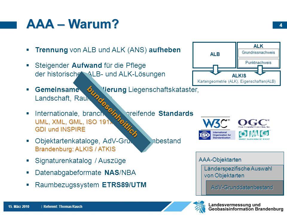 4 15.März 2010 Referent: Thomas Rauch AAA – Warum.