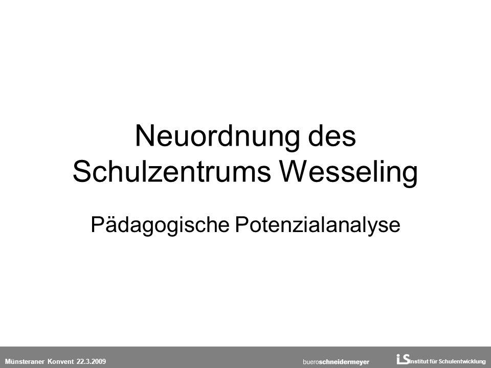 Institut für Schulentwicklung Münsteraner Konvent 22.3.2009 Neuordnung des Schulzentrums Wesseling Pädagogische Potenzialanalyse