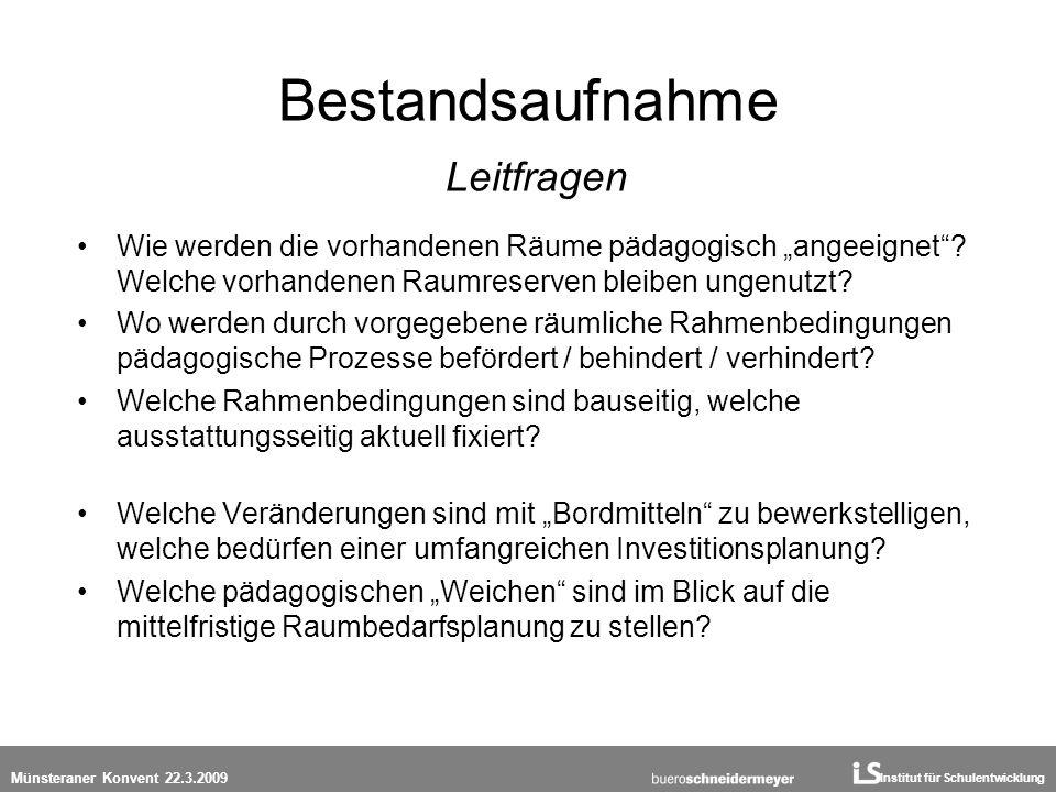 Institut für Schulentwicklung Münsteraner Konvent 22.3.2009 Bestandsaufnahme Leitfragen Wie werden die vorhandenen Räume pädagogisch angeeignet? Welch