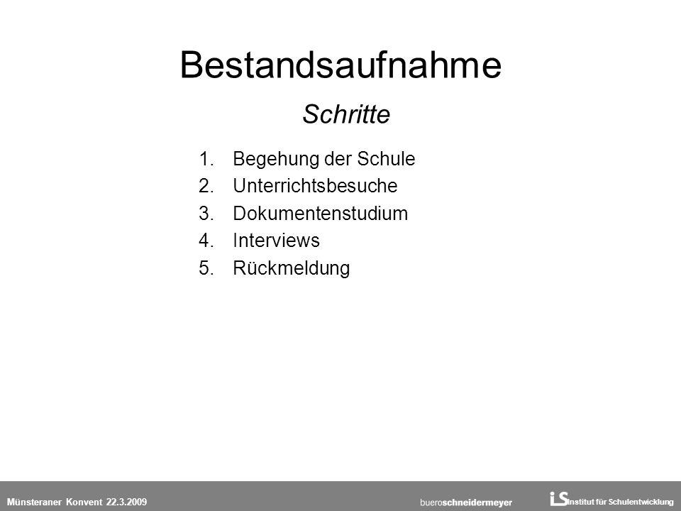 Institut für Schulentwicklung Münsteraner Konvent 22.3.2009 Bestandsaufnahme Schritte 1.Begehung der Schule 2.Unterrichtsbesuche 3.Dokumentenstudium 4