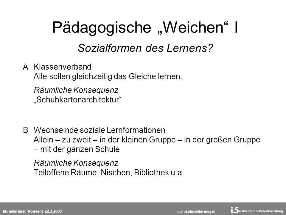 Institut für Schulentwicklung Münsteraner Konvent 22.3.2009 Pädagogische Weichen I Sozialformen des Lernens? A Klassenverband Alle sollen gleichzeitig