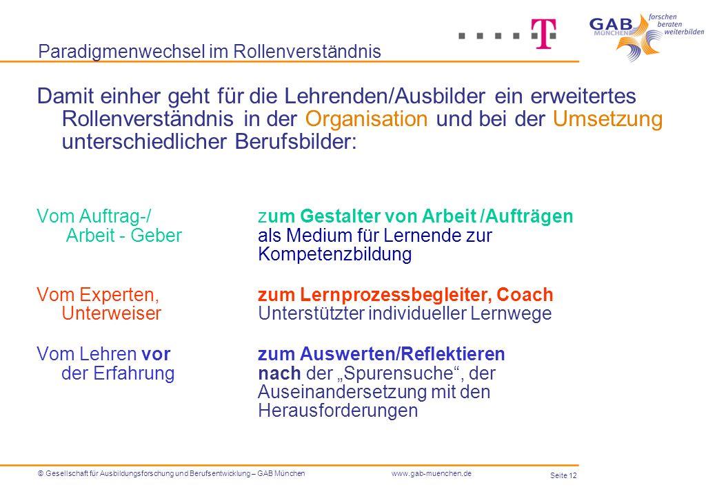 Seite 12 © Gesellschaft für Ausbildungsforschung und Berufsentwicklung – GAB Münchenwww.gab-muenchen.de Paradigmenwechsel im Rollenverständnis Damit e