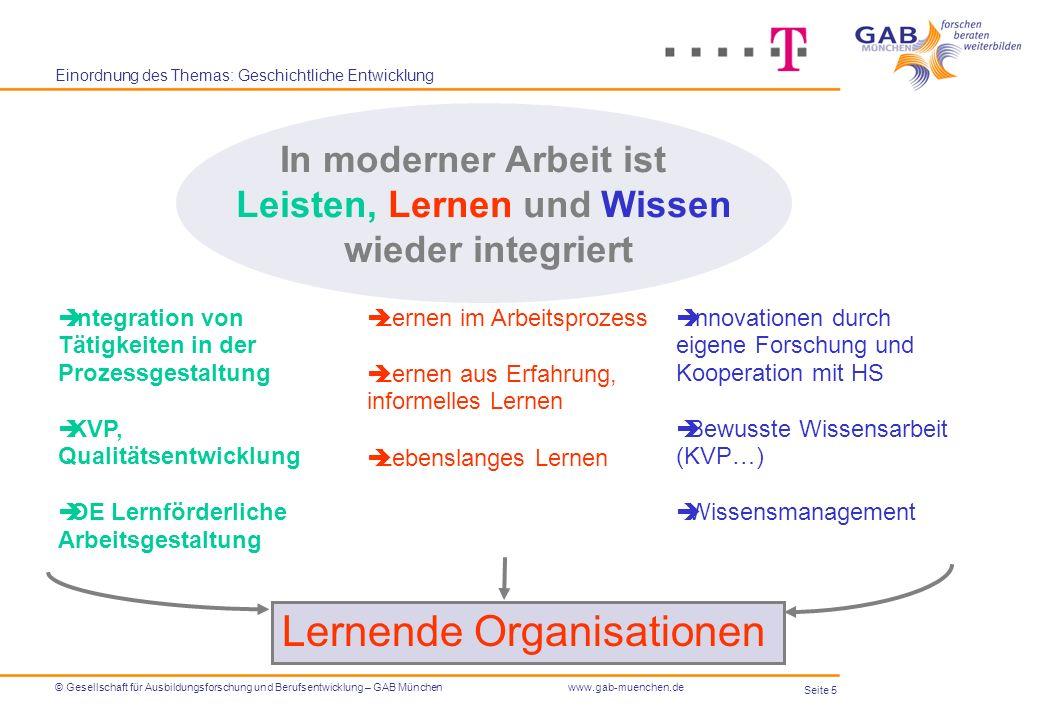 Seite 5 © Gesellschaft für Ausbildungsforschung und Berufsentwicklung – GAB Münchenwww.gab-muenchen.de Einordnung des Themas: Geschichtliche Entwicklu