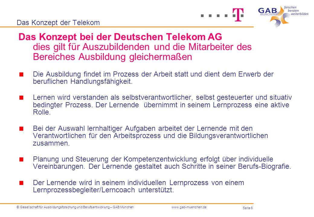 Seite 6 © Gesellschaft für Ausbildungsforschung und Berufsentwicklung – GAB Münchenwww.gab-muenchen.de Das Konzept der Telekom Das Konzept bei der Deu