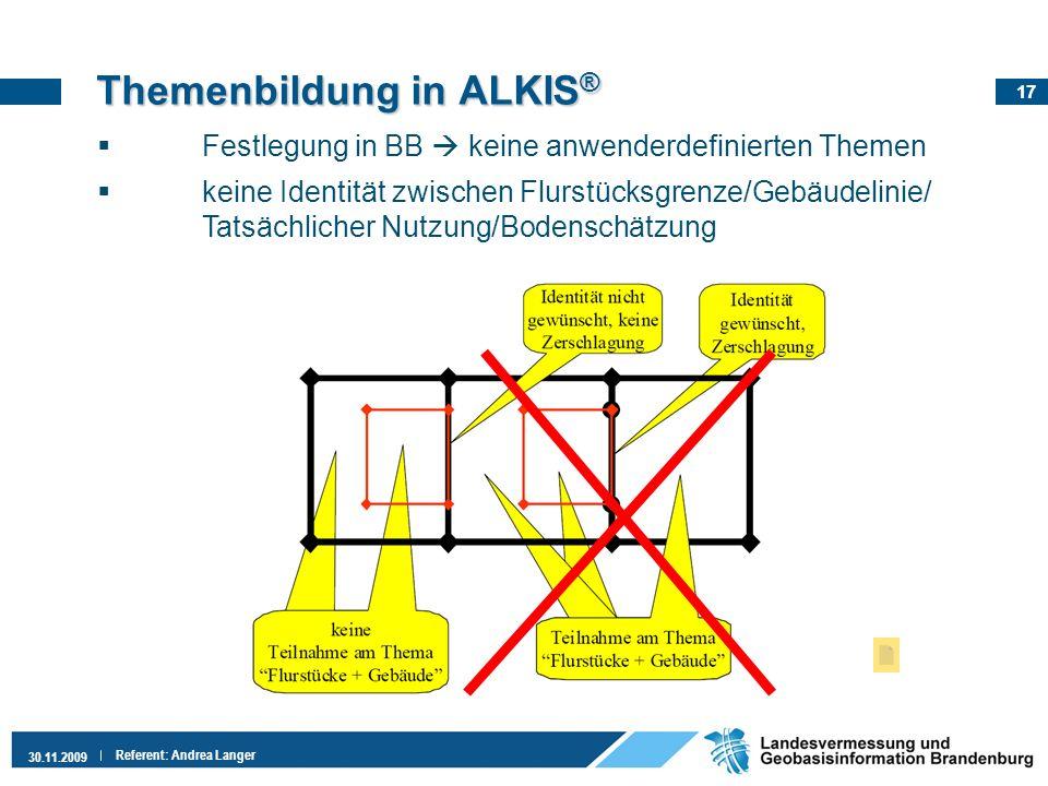 17 30.11.2009 Referent: Andrea Langer Festlegung in BB keine anwenderdefinierten Themen keine Identität zwischen Flurstücksgrenze/Gebäudelinie/ Tatsäc