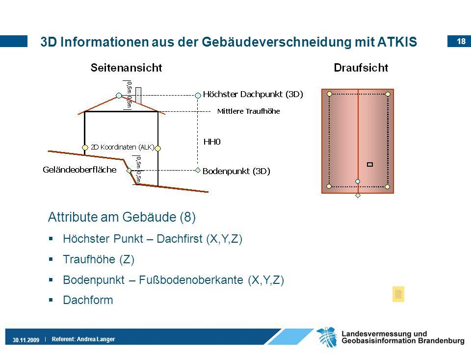 18 30.11.2009 Referent: Andrea Langer 3D Informationen aus der Gebäudeverschneidung mit ATKIS Attribute am Gebäude (8) Höchster Punkt – Dachfirst (X,Y