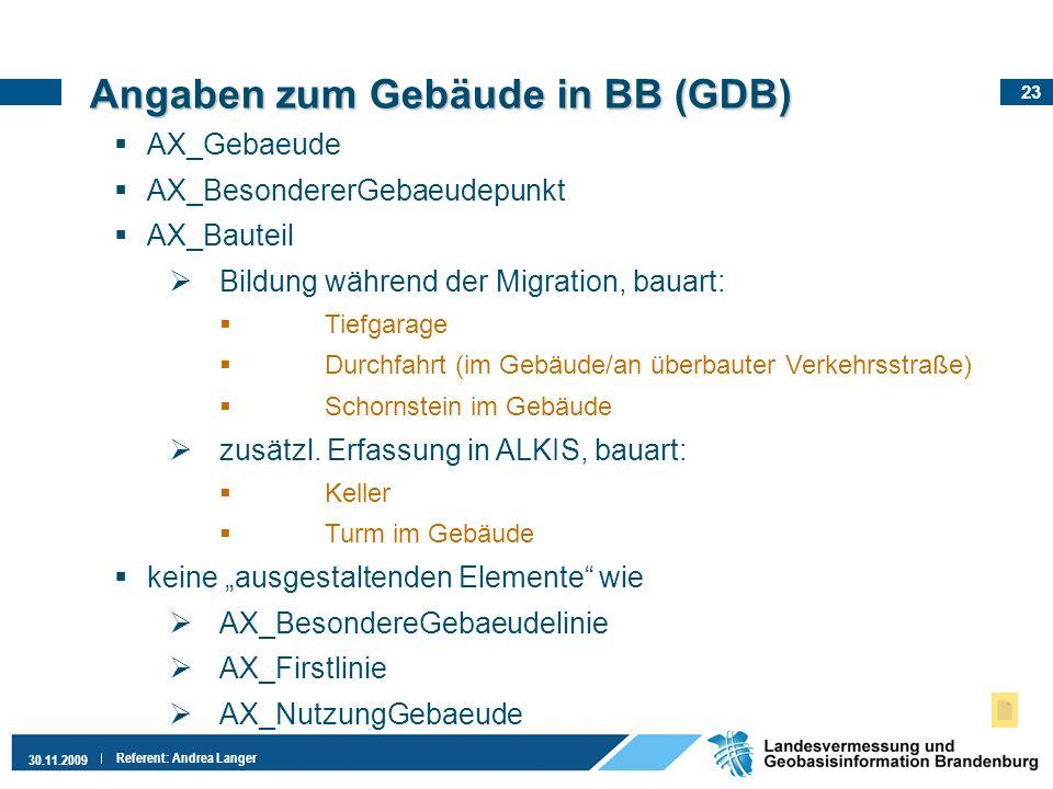 23 30.11.2009 Referent: Andrea Langer AX_Gebaeude AX_BesondererGebaeudepunkt AX_Bauteil Bildung während der Migration, bauart: Tiefgarage Durchfahrt (