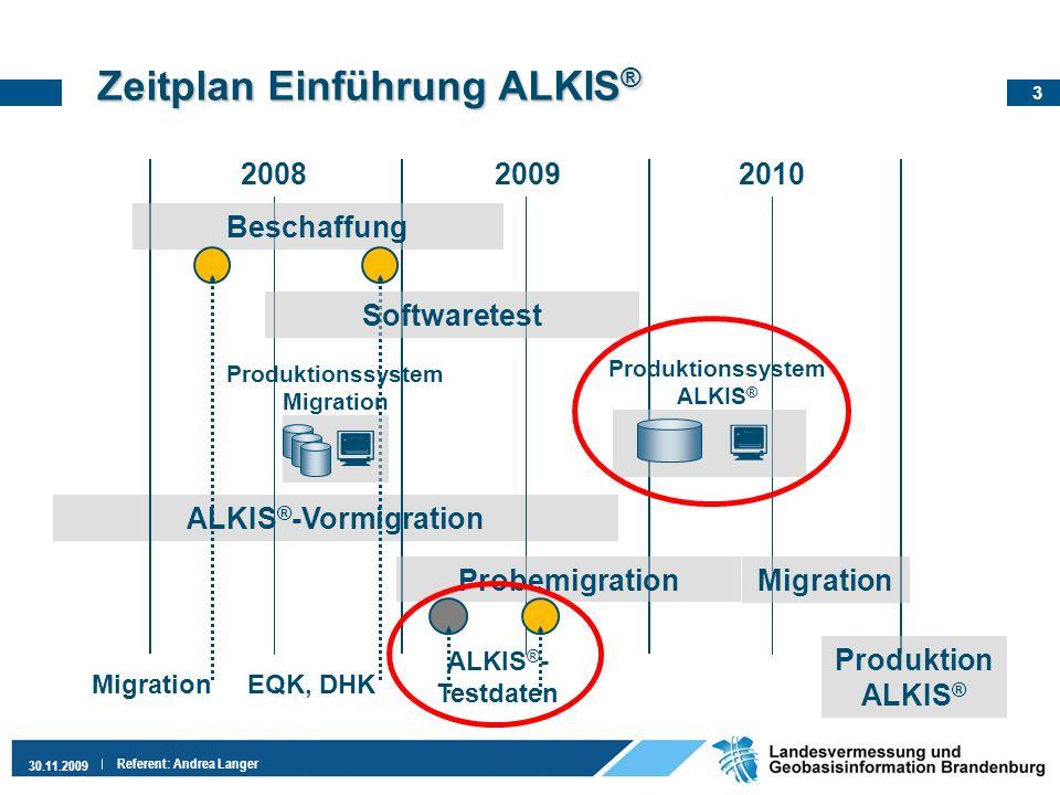 3 30.11.2009 Referent: Andrea Langer Zeitplan EinführungALKIS ® Zeitplan Einführung ALKIS ® ALKIS ® -Vormigration 200820092010 Probemigration Beschaff