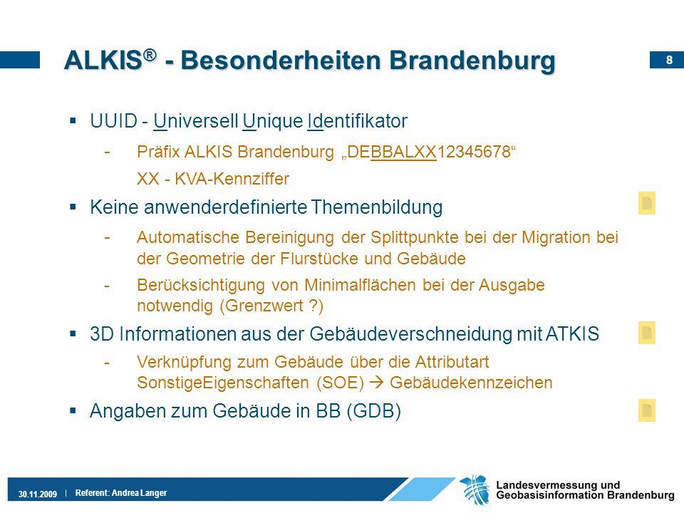 8 30.11.2009 Referent: Andrea Langer ALKIS ® - Besonderheiten Brandenburg UUID - Universell Unique Identifikator - Präfix ALKIS Brandenburg DEBBALXX12