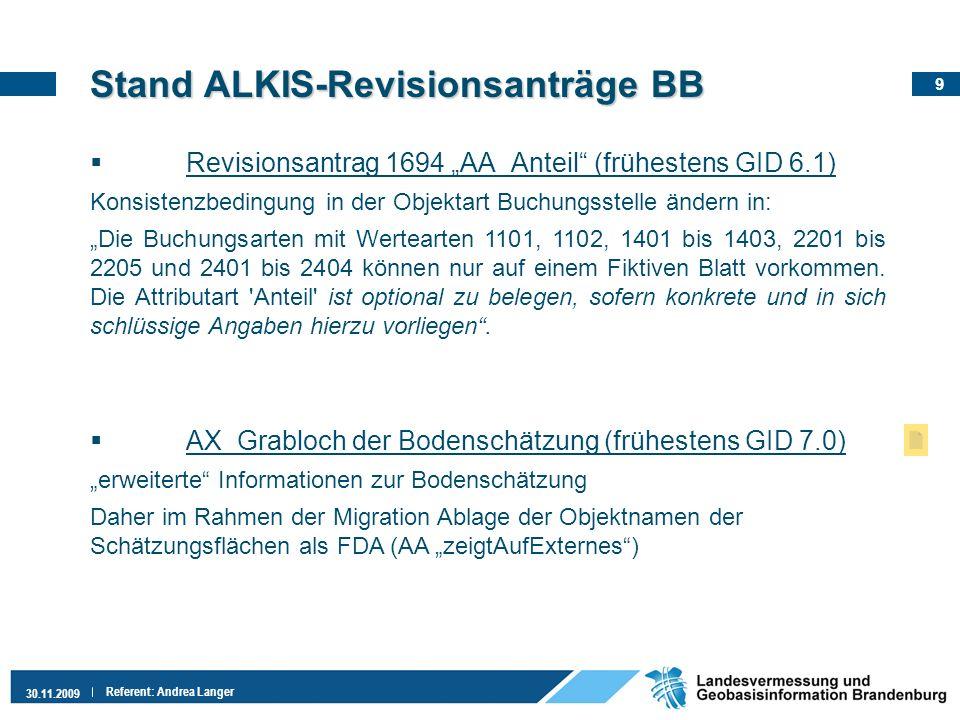 9 30.11.2009 Referent: Andrea Langer StandALKIS-Revisionsanträge BB Stand ALKIS-Revisionsanträge BB Revisionsantrag 1694 AA_Anteil (frühestens GID 6.1