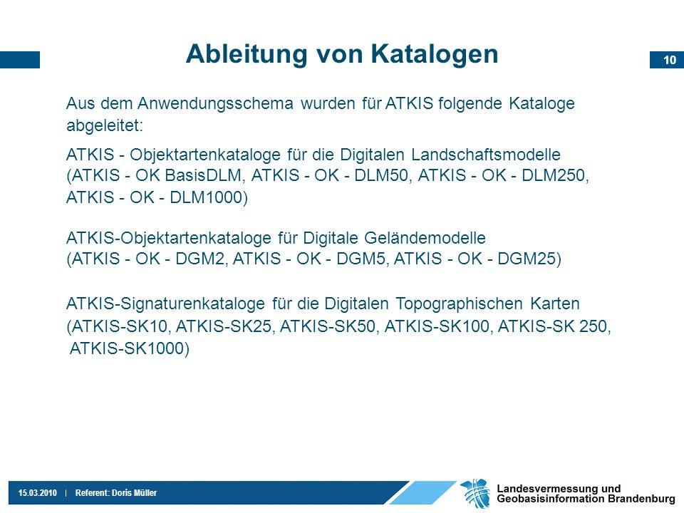 10 15.03.2010Referent: Doris Müller Ableitung von Katalogen Aus dem Anwendungsschema wurden für ATKIS folgende Kataloge abgeleitet: ATKIS - Objektarte