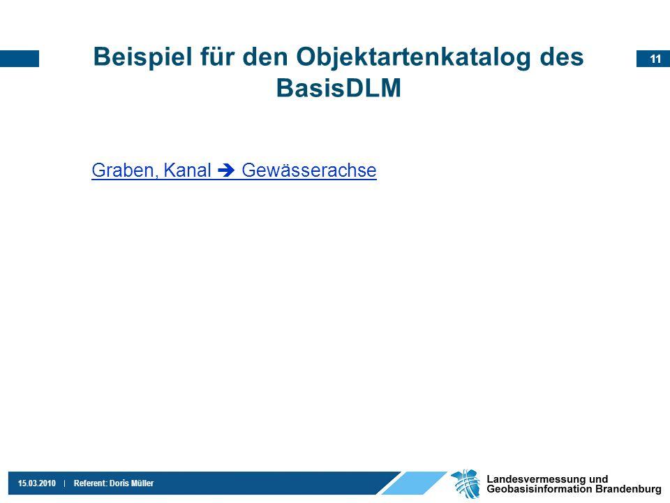 11 15.03.2010Referent: Doris Müller Beispiel für den Objektartenkatalog des BasisDLM Graben, Kanal Gewässerachse