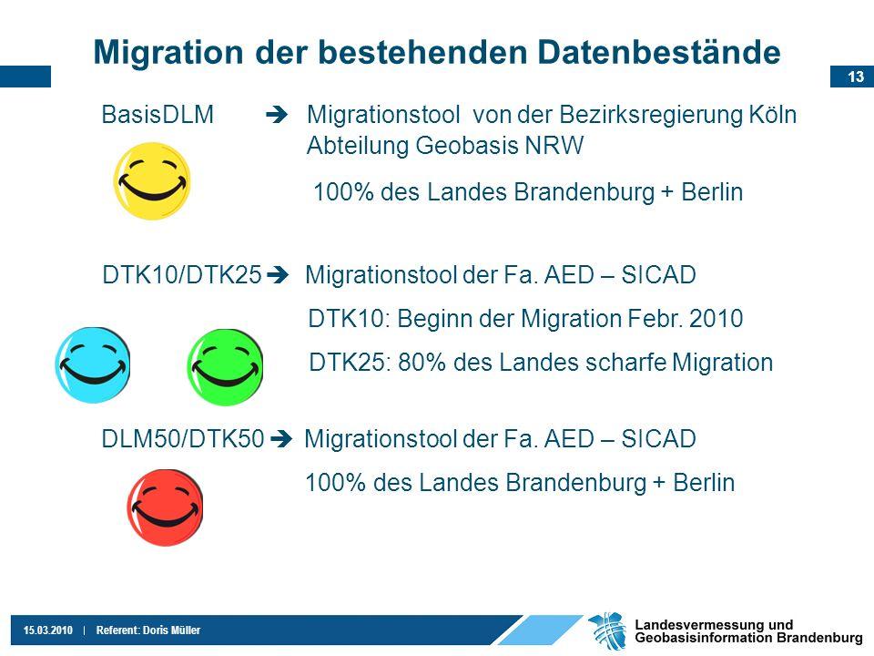 13 15.03.2010Referent: Doris Müller Migration der bestehenden Datenbestände BasisDLM Migrationstool von der Bezirksregierung Köln Abteilung Geobasis N