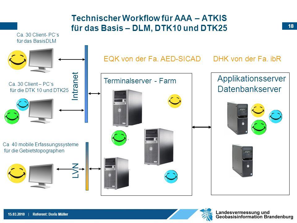 18 15.03.2010Referent: Doris Müller Technischer Workflow für AAA – ATKIS für das Basis – DLM, DTK10 und DTK25 Ca. 30 Client- PCs für das BasisDLM Ca.