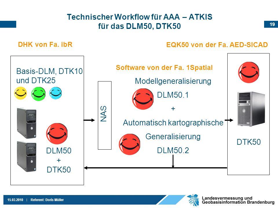 19 15.03.2010Referent: Doris Müller Technischer Workflow für AAA – ATKIS für das DLM50, DTK50 EQK50 von der Fa. AED-SICAD Basis-DLM, DTK10 und DTK25 N