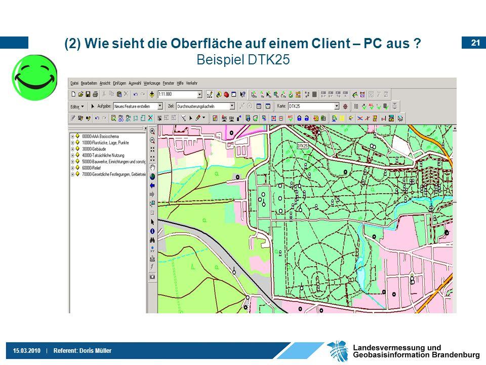 21 15.03.2010Referent: Doris Müller (2) Wie sieht die Oberfläche auf einem Client – PC aus ? Beispiel DTK25