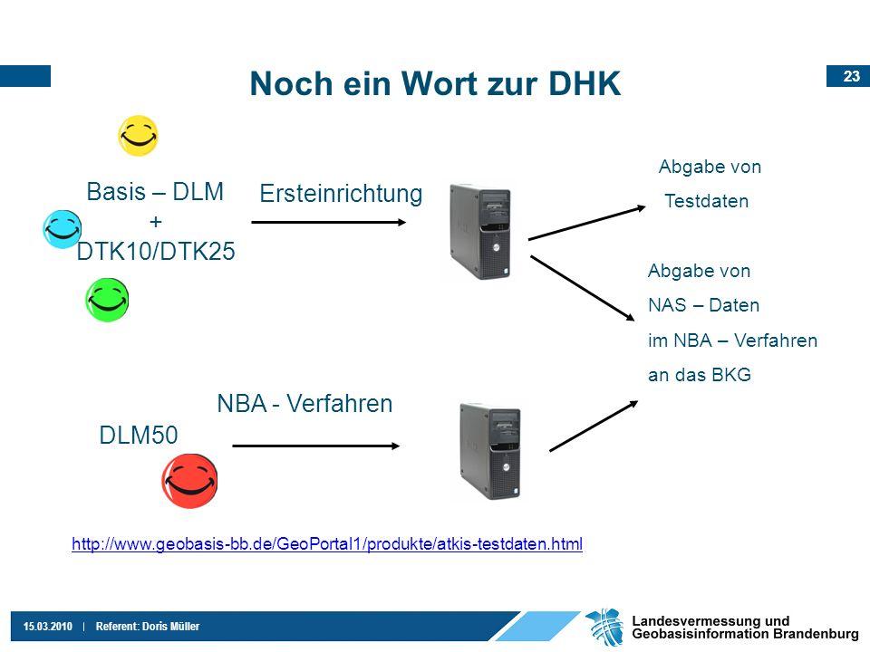 23 15.03.2010Referent: Doris Müller Noch ein Wort zur DHK Basis – DLM + DTK10/DTK25 DLM50 Ersteinrichtung NBA - Verfahren Abgabe von Testdaten Abgabe