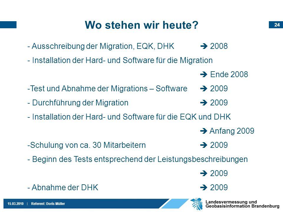 24 15.03.2010Referent: Doris Müller Wo stehen wir heute? - Ausschreibung der Migration, EQK, DHK 2008 - Installation der Hard- und Software für die Mi
