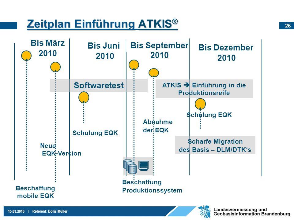 25 15.03.2010Referent: Doris Müller Zeitplan EinführungATKIS ® Zeitplan Einführung ATKIS ® Bis März 2010 Beschaffung mobile EQK Neue EQK-Version Bis J