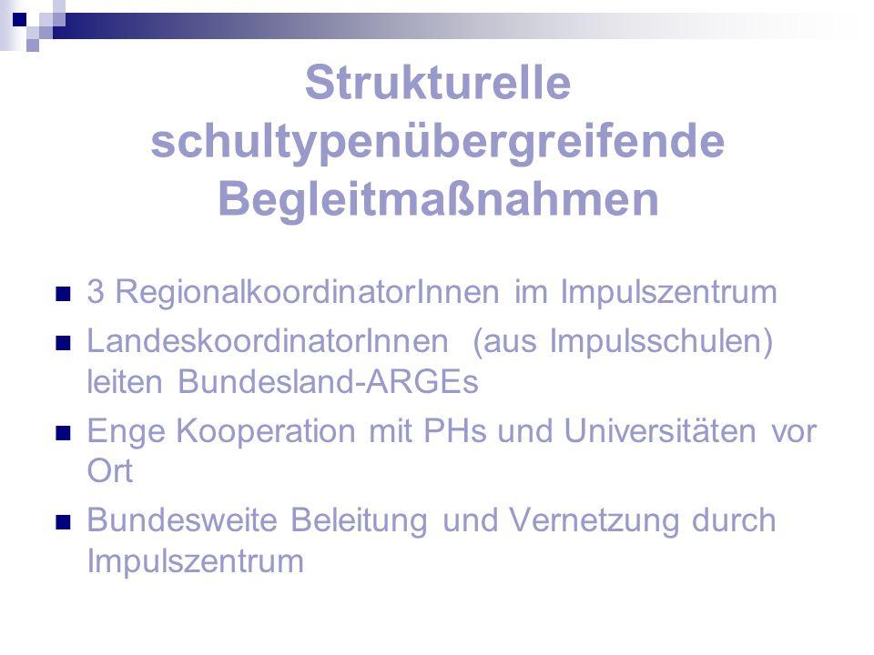 Strukturelle schultypenübergreifende Begleitmaßnahmen 3 RegionalkoordinatorInnen im Impulszentrum LandeskoordinatorInnen (aus Impulsschulen) leiten Bu