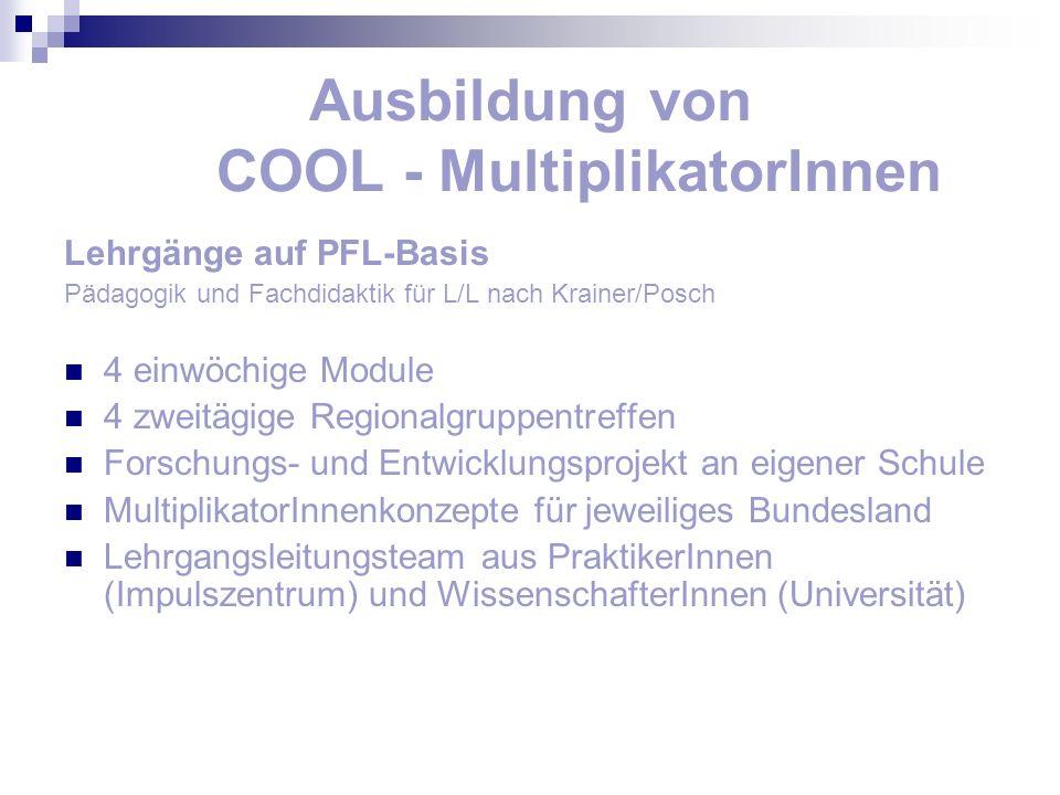 Ausbildung von COOL - MultiplikatorInnen Lehrgänge auf PFL-Basis Pädagogik und Fachdidaktik für L/L nach Krainer/Posch 4 einwöchige Module 4 zweitägig